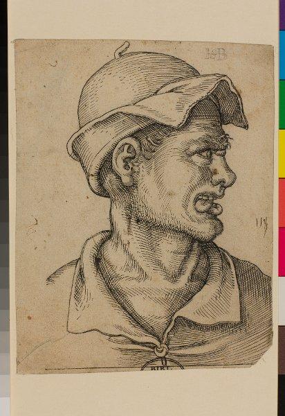 Brustbild eines die Zunge herausstreckenden Mannes mit Mütze ...